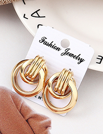 Fashion Kc Gold Hollow Round Earrings