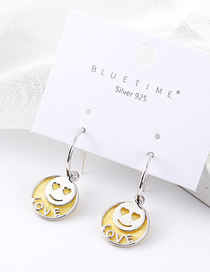 Fashion Platinum Plated Gold Love Smile S925 Silver Needle Stud Earrings