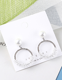 Fashion Platinum Plated Gold Circle Pearl S925 Silver Needle Stud Earrings