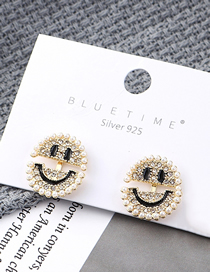 Fashion 14k Gold Plated Gold Smiley Doll S925 Silver Needle Earrings