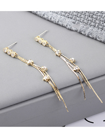 Fashion 14k Gold Plated Gold Five-star Fringed S925 Silver Needle Earrings