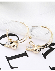 Fashion 14k Gold Plated Gold Moon S925 Silver Needle Earrings