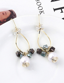 Fashion Gold Gold Plated Square Crystal Cutout Earrings
