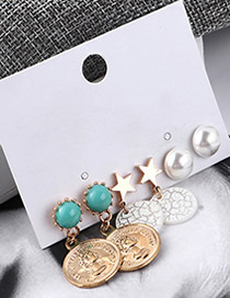 Fashion Green + White Avatar Seal Earrings Set