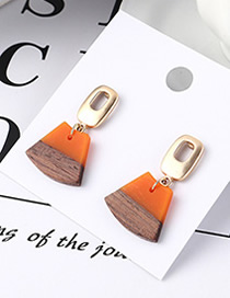Fashion Orange Wood Earrings