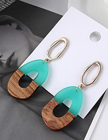 Fashion Blue Openwork Wood Earrings