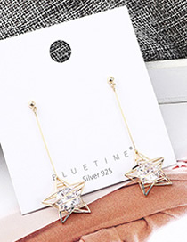 Fashion Gold Plated Gold Five-pointed Star Fringed S925 Silver Needle Earrings
