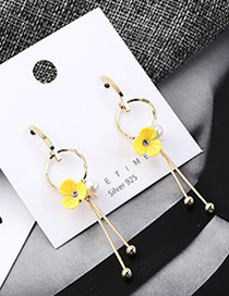 Fashion 14k Gold Plated Gold Flower Pearl Fringed S925 Silver Needle Earrings