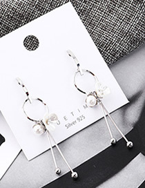 Fashion Platinum Plated Gold Flower Pearl Fringed S925 Silver Needle Earrings
