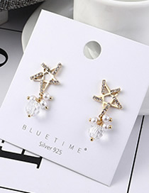 Fashion 14k Gold Plated Gold Five-star Pearl S925 Silver Needle Earrings