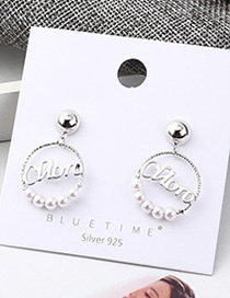 Fashion Platinum Plated Gold Circle Letter S925 Silver Needle Earrings