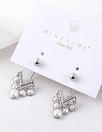 Fashion Silver Plated Gold Heart-shaped Pearl S925 Silver Needle Earrings