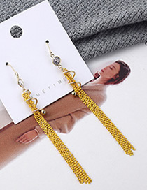 Fashion Yellow Plated Gold Spiral Tassel Earrings