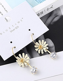 Fashion White Plated Gold Lotus Earrings