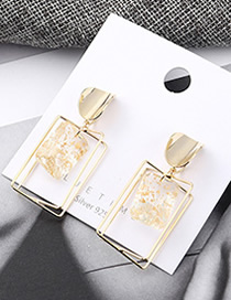 Fashion Gold Wind-plated Real Gold Irregular Square Hollow S925 Silver Needle Earrings