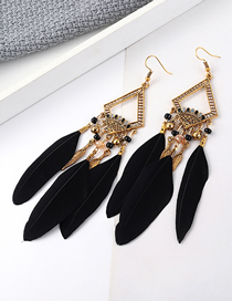 Fashion Black Feather Earrings