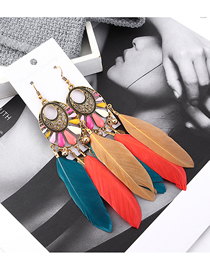 Fashion Color Fringed Leaf Earrings