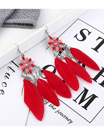 Fashion Red Flower Feather Earrings