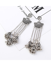 Fashion White K Tassel Earrings
