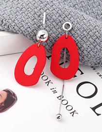 Fashion Red Plated Gold Asymmetrical S925 Silver Needle Stud Earrings