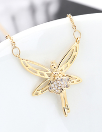 Fashion 14k Gold Dancing Butterfly Princess Zircon Necklace
