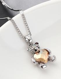 Fashion Golden Phantom Bear Holding Heart Crystal Necklace