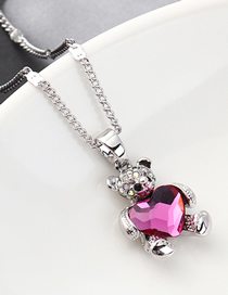 Fashion Purple Bear Holding Heart Crystal Necklace