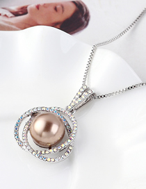 Fashion Bronze Flower Ball Orb Crystal Necklace