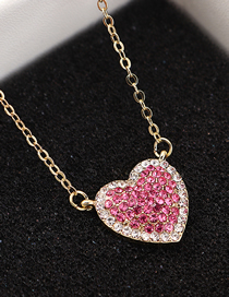 Fashion 14k Gold + Rose Red Sky Heart Crystal Necklace