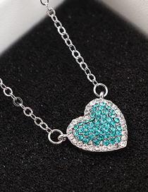 Fashion Platinum + Blue Zircon Sky Heart Crystal Necklace