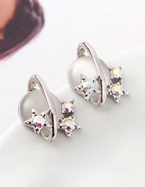 Fashion Platinum + Gray Opal A Earrings - Star Color