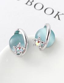Fashion Light Blue Opal B Earrings - Star Color