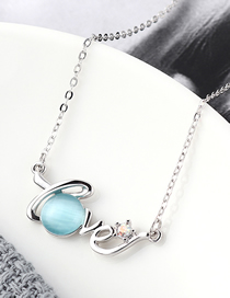 Fashion Light Blue Crystal Opal C Necklace - Star Color