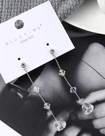 Fashion Silver Crystal Earrings - Teardrop Beads
