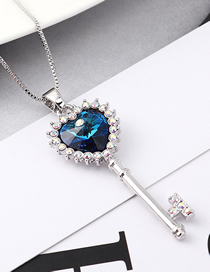 Fashion Blue Light Crystal Necklace - Key To The Atrium