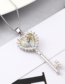 Fashion Colorful White Crystal Necklace - Key To The Atrium