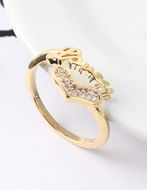 Fashion 14k Gold Zircon Ring - Heart Shaped Letter Ring