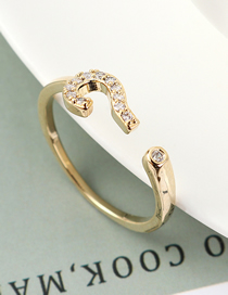 Fashion 14k Gold Zircon Ring - Interpretation Symbol