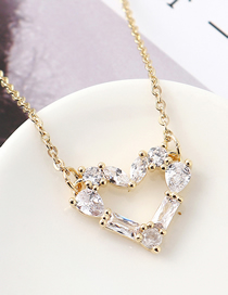 Fashion 14k Gold Zircon Necklace - Painted Heart