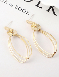Fashion K Gold Gold Plated Three-ring Hollow S925 Silver Needle Stud Earrings