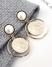 Fashion K Gold Plated Gold Avatar Seal S925 Silver Needle Stud Earrings