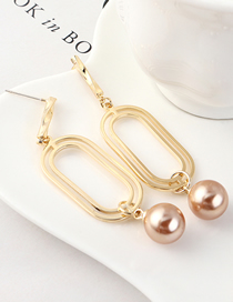 Fashion K Gold Gold Plated Double Circle Hollow Pearl S925 Silver Needle Stud Earrings