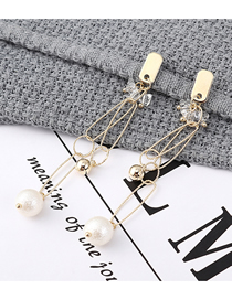 Fashion K Gold Gold Plated Double Ring Pearl S925 Silver Needle Stud Earrings