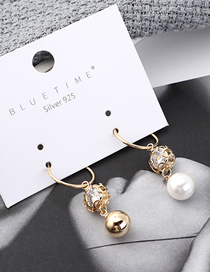 Fashion Gold Plated Gold Pearl Small Circle Hollowed Out S925 Silver Needle Stud Earrings
