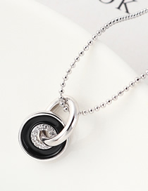Fashion Platinum Circle Zircon Necklace