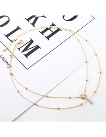 Fashion Gold Pearl Fringed Zircon Necklace