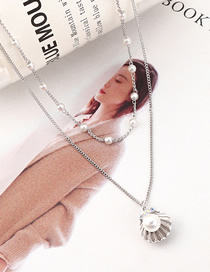 Fashion Platinum Shell Pearl Crystal Necklace