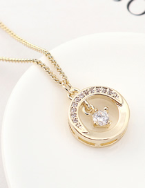Fashion 14k Gold Half-bend Zircon Necklace
