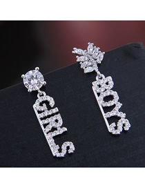 Fashion Silver Copper Micro Inlaid Zircon Alphabet Stud Earrings