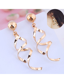 Fashion Gold Twisted Earrings  Alloy
